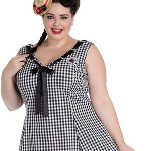 Hell Bunny Lady Bug Plus Gingham Check Dress